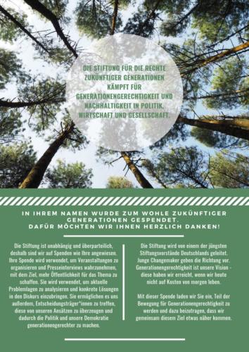 Spendenurkunde Bäume