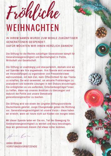Spendenurkunde Fröhliche Weihnachten