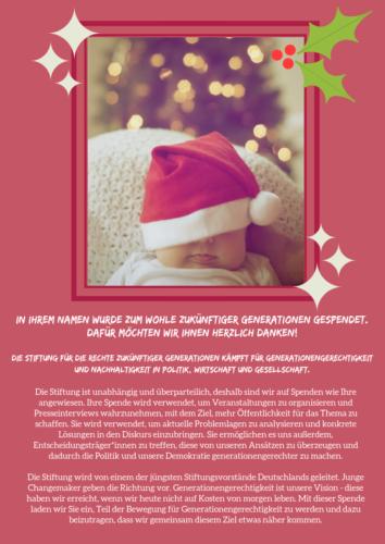 Spendenurkunde Weihnachten Baby